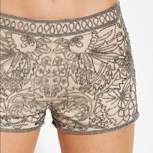 NWT Tan Shorts with Silver Beading